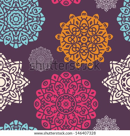 Seamless Pattern With ��¡oloured Circle Ornament On Black Background, Mandala - Vector Circle Ornament, Design Element - stock vector