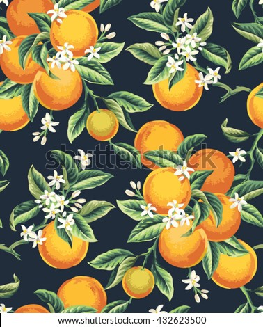 Seamless pattern with orange fruits, flowers and leaves on a dark background. Vector illustration. - stock vector