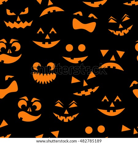 seamless pattern with orange halloween pumpkins carved faces silhouettes on black background can be used - Black And Orange Halloween