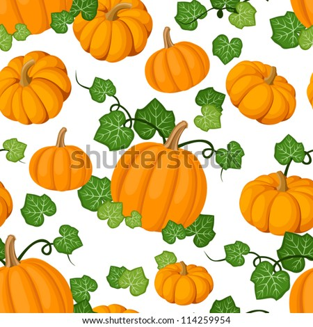Seamless pattern with orange pumpkins and green leaves. Vector illustration. - stock vector