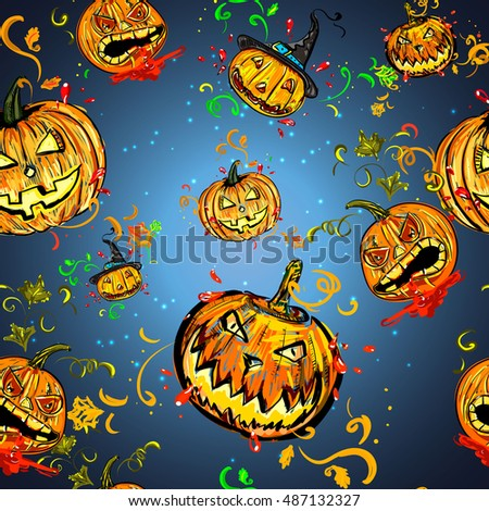 Seamless pattern with orange pumpkins on blue background.