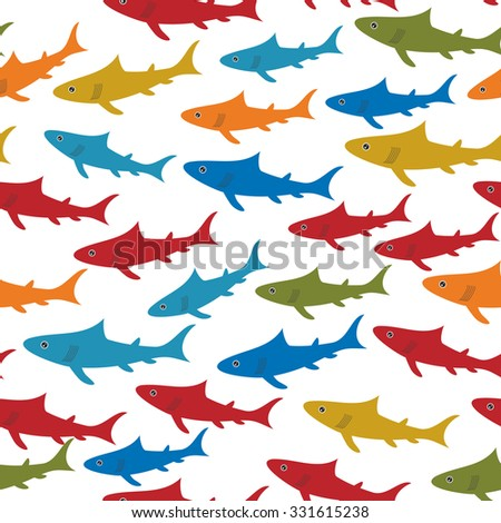 Seamless pattern with orange red blue green sharks Isolated on white background. Vector - stock vector