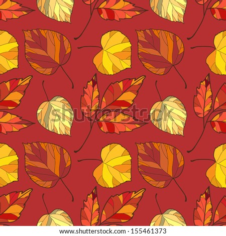 Seamless Pattern With Orange, Yellow and Brown  Leaves On Red Background.  Autumn Fall Ornament Wallpaper, Digital Or Wrapping Paper.