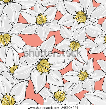 Seamless pattern with orchid flowers vector illustration. - stock vector