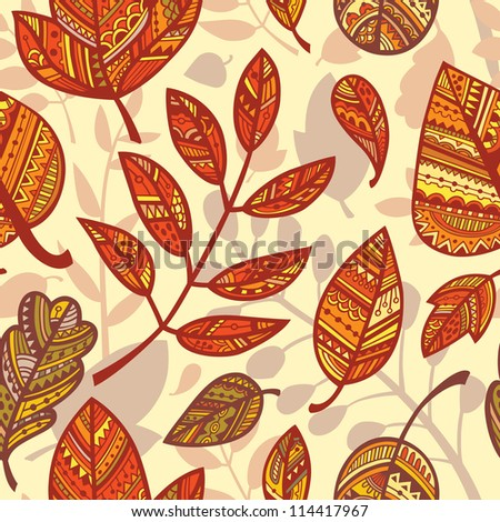 Seamless pattern with ornamental autumn leaves. Vector.