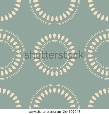 Seamless pattern with ornamental circles, vector EPS 8 - stock vector