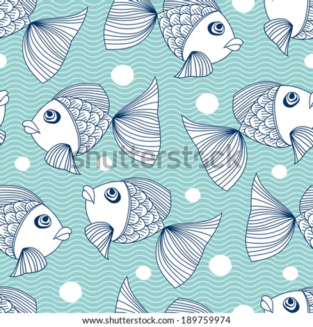 Seamless pattern with ornamental fish. - stock vector