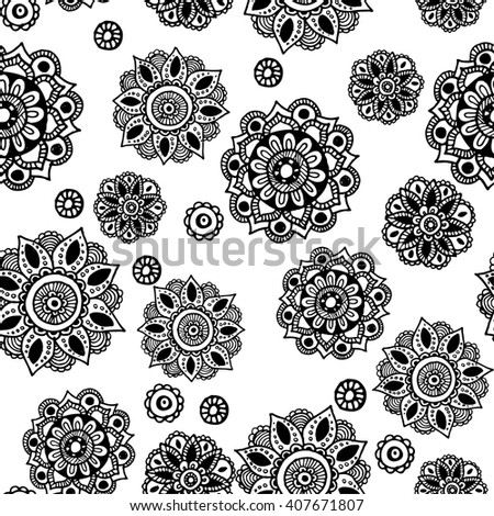 Seamless pattern with ornaments. Vintage decorative elements. Hand drawn background. Islam, Arabic, Indian, ottoman motifs. Isolated on white. anti stress Coloring Page Vector monochrome sketch.