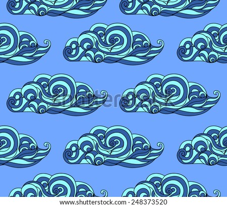 seamless pattern clouds japanese style stock vector 247979557