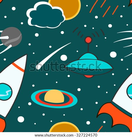 Seamless pattern with outer space, rocket, comet, planets, ufo and stars. Childish background. Hand drawn eps10 vector illustration. - stock vector