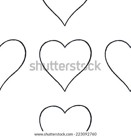 Seamless pattern with outline heart sign with black line contour isolated on white background. Hand drawn graphic design element save in vector illustration 8 eps - stock vector