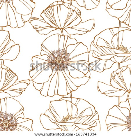 Seamless pattern with outline poppies. Elegant floral background. Vector illustration - stock vector