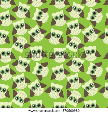 Seamless pattern with owls - stock vector
