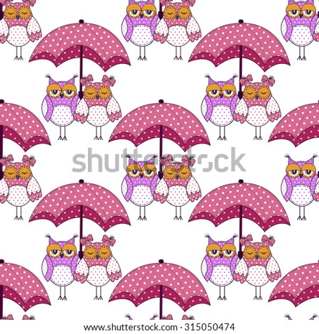 Seamless pattern with owls in love and umbrella on white background - stock vector