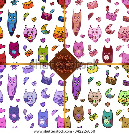 Seamless pattern with owls in love with letters and feathers, moon and hearts, and flowers. A seamless pattern for St. Valentine's Day. Valentines Day card. - stock vector
