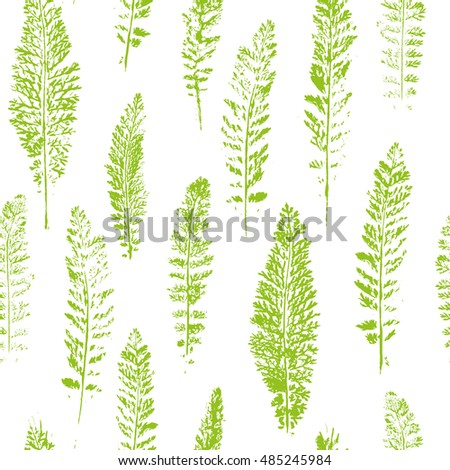 Seamless pattern with paint prints of leaves