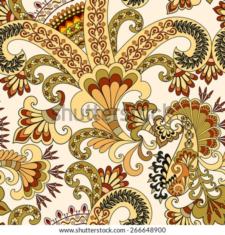 seamless pattern with paisley and decorative lines in olive yellow tones on light background - stock vector