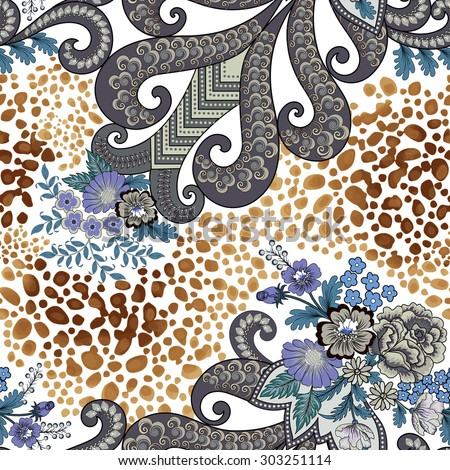 Seamless pattern with paisley and flowers in blue-gray tones, decorated with leopard skin fragments in beige brown colors on a light background - stock vector