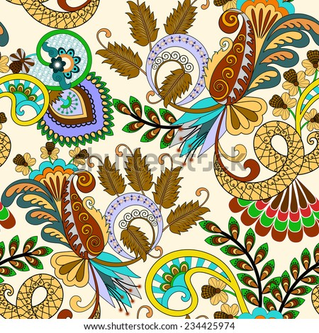 seamless pattern with paisley, brown leaves  and bright colorful decor on light background - stock vector