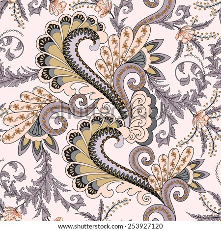 seamless pattern with paisley decorated with leaves, branches of mimosa, flowers and large swirls in pastel colors