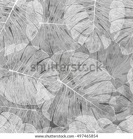 Seamless pattern with palm leaves, exotic. Vector monstera leaves.