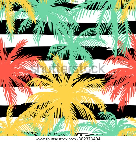 Seamless pattern with palm leaves on a striped background.Bright abstract background for summer holiday. - stock vector