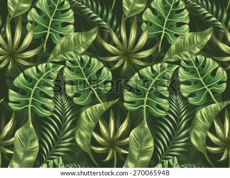 Seamless pattern with palm leaves stylized like watercolor - stock vector