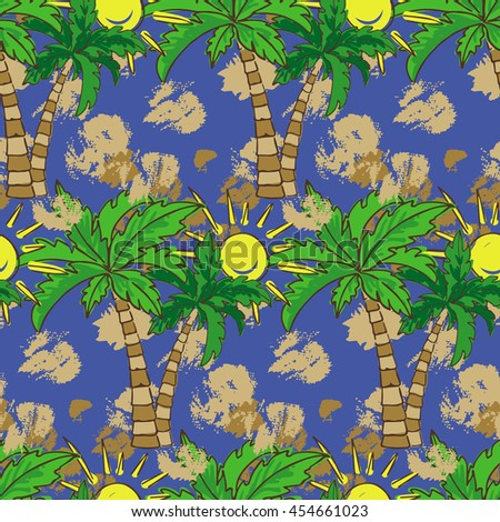 Seamless pattern with palm trees and sun. Summer print, repeating background texture