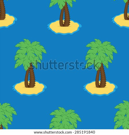 Seamless pattern with palm trees on a white background.Tropical paradise - stock vector