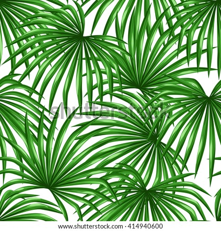 Seamless pattern with palms leaves. Decorative image tropical leaf of palm tree Livistona Rotundifolia. Background made without clipping mask. Easy to use for backdrop, textile, wrapping paper.