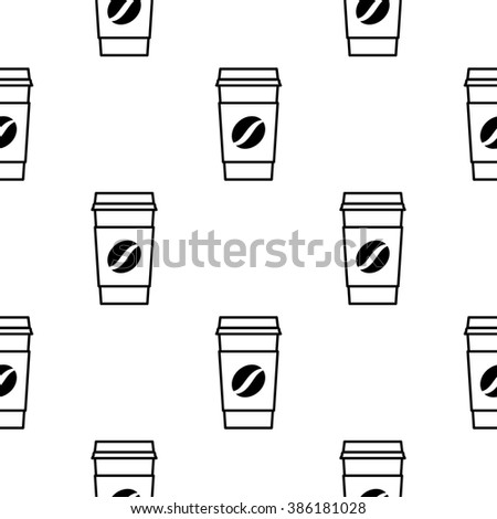 Seamless pattern with paper coffee cup. Paper coffee cup background. Paper coffee cup vector. Paper coffee cup icons. Paper coffee cup isolated. Paper coffee cup in thin line style.  - stock vector