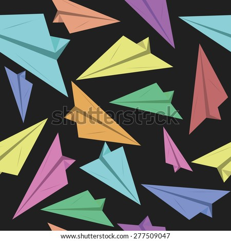 Seamless pattern with paper planes