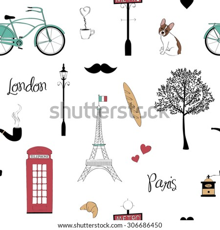 Seamless pattern with Paris and London symbols - stock vector