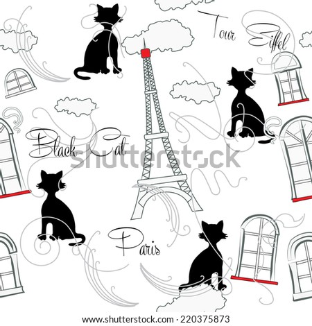Seamless pattern with  Paris and music . Vector Illustration