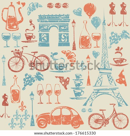 Seamless pattern with Paris / France elements.  - stock vector