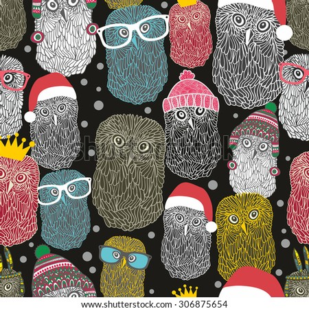 Seamless pattern with party of owls.Vector repeated background with night birds in retro style. - stock vector