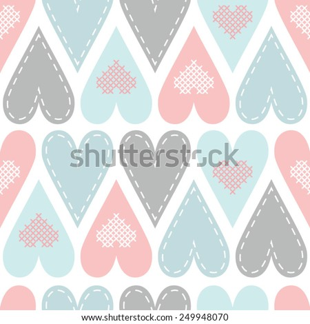 Seamless pattern with pastel hart - stock vector