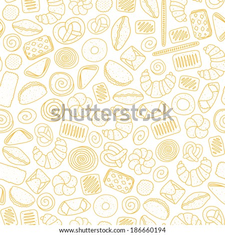 Seamless pattern with pastries - stock vector