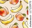 Seamless pattern with peach and banana. Painted in watercolor style - stock photo