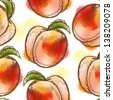 Seamless pattern with peach. Painted in watercolor style - stock photo