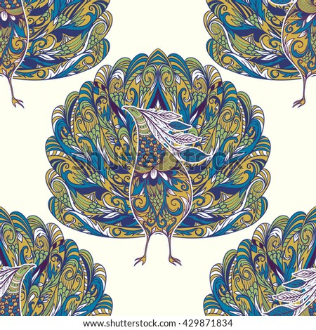 Seamless pattern with peacock. Vintage fantasy bird with floral ornament. Colorful hand drawn vector illustration. - stock vector