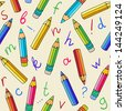 Seamless pattern with pencils and letters - vector - stock vector