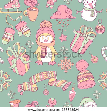 seamless pattern with penguin, scarf, present, gloves and snowflakes.  Christmas winter background
