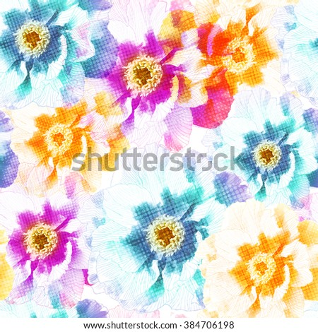 Seamless pattern with peony colorful  flowers. Vector, EPS10. - stock vector