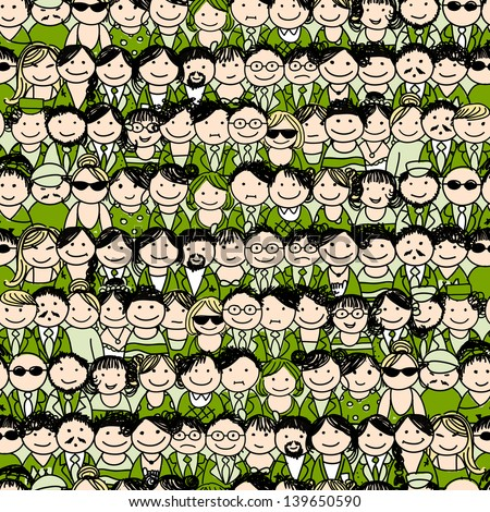 Seamless pattern with people icons for your design - stock vector