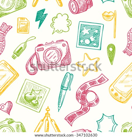 Seamless pattern with photo equipment. Hand drawn vector illustration. Can be used for photography studio. - stock vector