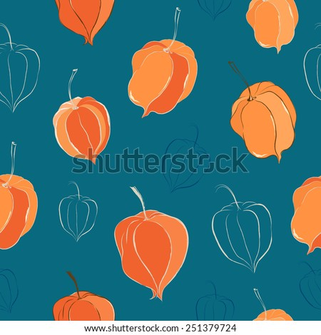 Seamless pattern with physalis - stock vector