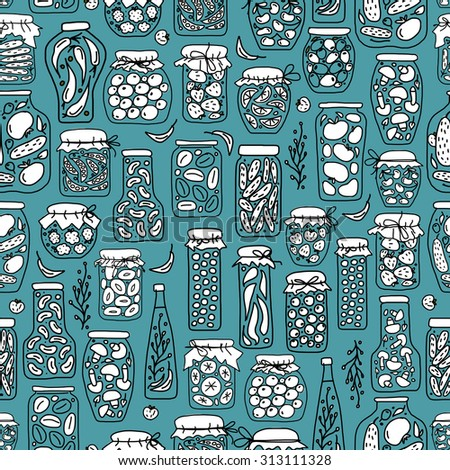 Seamless pattern with pickle jars fruits and vegetables. Vector illustration - stock vector