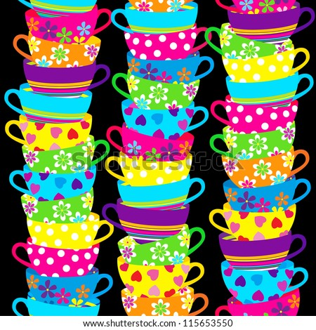 Seamless pattern with piles of stacked colorful cups. - stock vector