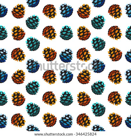 Seamless pattern with pine cones. Fir, cedar, spruce tree background. Vector forest illustration. Autumn, winter, spring and summer symbols and elements of wood. Christmas and New year decorations.  - stock vector